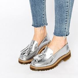 BRONX - Image 1 of Bronx Silver Tassel Loafer Flat Shoes