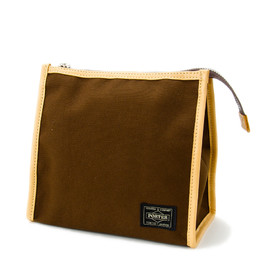 """HEAD PORTER - """"LX"""" GROOMING POUCH BROWN"""