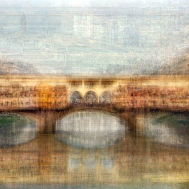 Pep Ventosa - Il Ponte Vecchio, photograph, blending together dozens of snapshots