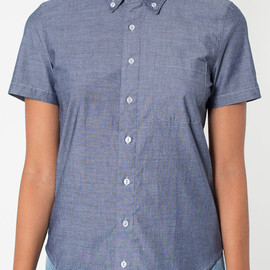 American Apparel - Chambray Short Sleeve Button-Down with Pocket