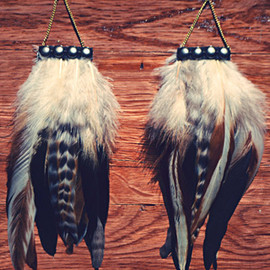 Black Studded Feather Earrings