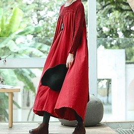 Loose Fitting red Dress - Maxi Dress in red, womens Dress, linen Maxi Dress, Loose Fitting red Dress