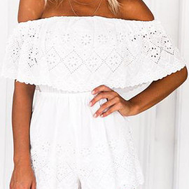 Yoins - Off-The-Shoulder Lace Eyelet Playsuit in White