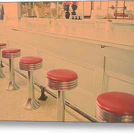 Fine Art America - Stools At Bar Counter Metal Print By Carol Whaley Addassi