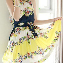 fashion - Image of [grzxy6601158]Bohemia Style Fresh Flower Print Bowknot Pleated Chiffon Party Dress