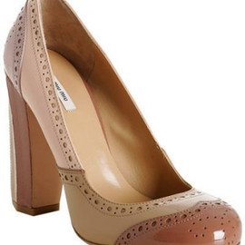 miu miu - nude patent leather wingtip pumps