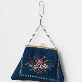 vintage 1950s dark blue tapestry bag