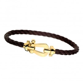 Fred & Friends - Force 10 bracelet with YG buckle, brown steel cable