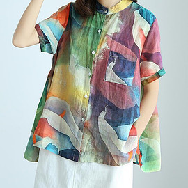 large size shirt - Silk linen large size shirt, Oversize womens blouses, summer t-shirts