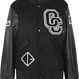 Opening Ceremony - Appliquéd wool-blend twill and leather bomber jacket
