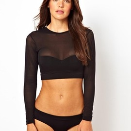 asos - Long Sleeve Mesh Crop Bikini Top