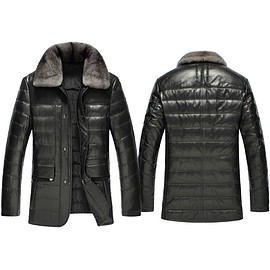 cwmalls - Cwmalls 2-in-1 Leather Down Jacket