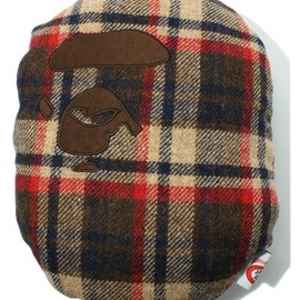 A BATHING APE - HARRIS TWEED APE FACE CUSHION