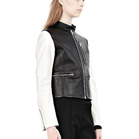 ALEXANDER WANG - ZIP UP MOTO JACKET WITH CONTRAST SLEEVES