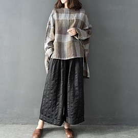 large size plaid shirt - Linen Oversize shirt, asymmetric large size plaid shirt, women pullover