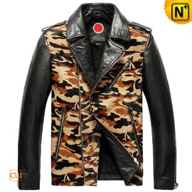 CWMALLS - Fashion Leather Camo Motorcycle Jacket for Men CW850337