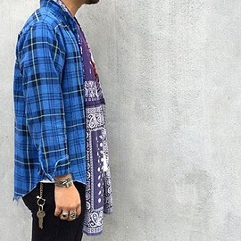 OLD PARK - STOLE SHIRT -FLANNEL(BLUE CH)