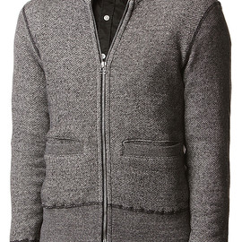 wings + horns - Wings + Horns Zip Front Cardigan in Charcoal