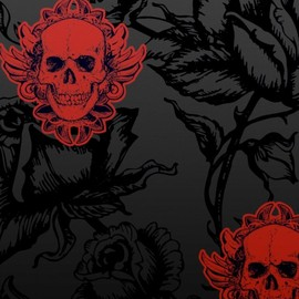 Large Winged Skull Black Red Wallpaper - Large Winged Skull Black Red Wallpaper