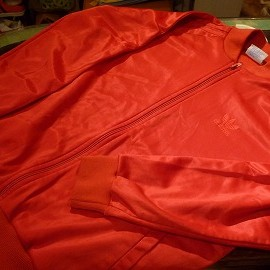 "adidas - 「<used>80's adidas SATIN JERSEY red/red""made in USA"" size:L 6800yen」完売"