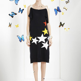Vionnet - Knitted cotton dress with star design and grosgrain shoulder ties