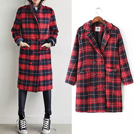 black and red plaid long coat