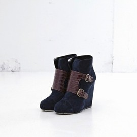 sacai - Boots(navy suede×brown croco)