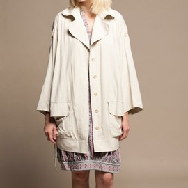 TSUMORI CHISATO - Pale Cream Silk Mac Coat