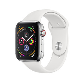 Apple - WATCH SERIES 4: Stainless Steel Case with Sport Band