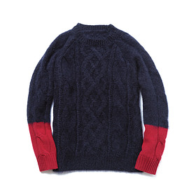 uniform experiment - COLOR BLOCK SLEEVE FISHERMAN CREW NECK KNIT