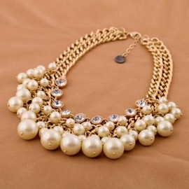 Stylish Fashionable Rhinestone Faux Pearl Decorated Necklace For Women