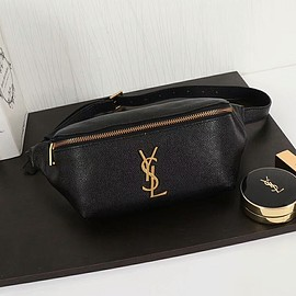 Yves Saint Laurent - Saint Laurent Classic Monogram Belt Bag In Textured Leather Black