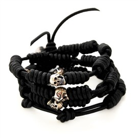 Chan Luu - Black Knotted Leather Bracelet with Silver Skulls