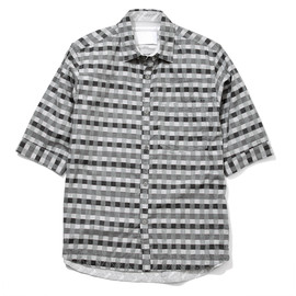 White Mountaineering - COTTON DOBBIE CHECKERBOARD PATTERN HALF-SLEEVE SHIRT