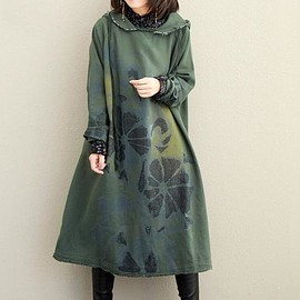 dress - Autumn dress, Hooded pullover dress, Women Maxi dress, loose Women 's Dresses