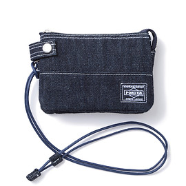 "HEAD PORTER - ""DENIM"" ZIP WALLET DARK BLUE"