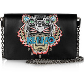 KENZO - tiger-embroidered leather shoulder bag