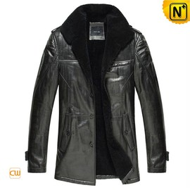 CWMALLS - Mens Black Sheepskin Shearling Coats CW877365