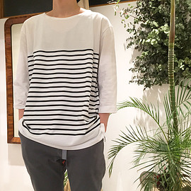 vendor Things - COTTON BOAT NECK BORDER QS LOOSE TEE