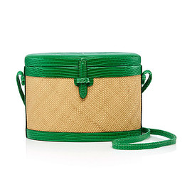 Hunting Season - Lizard-Trimmed Woven Raffia Shoulder Bag