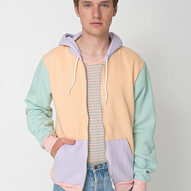 American Apparel - Flex Fleece Color Block Zip Hoodie / Melon Glacé/Lilac/Menthe