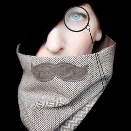piprobins - Mustache Scarf Cowl - History Professor Neckwarmer
