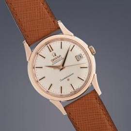 OMEGA - VINTAGE OMEGA GENTS CONSTELLATION ROSE GOLD CAPPED AUTOMATIC ON STRAP