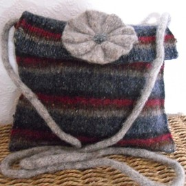 Luulla - Striped woollen messenger bag Grey / blue / maroon made from felted upcycled jumper with flower motif