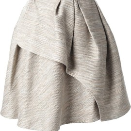 CARVEN - pleated tweed wrap skirt