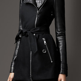 BURBERRY LONDON - SHORT LEATHER DETAIL COTTON BIKER TRENCH COAT