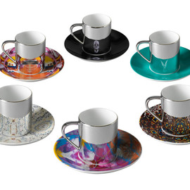 Damien Hirst - Box Set of 6 Mixed Anamorphic Cups and Saucers Damien Hirst