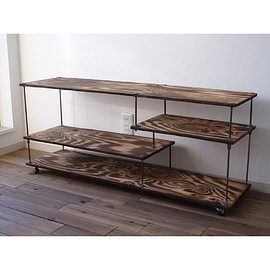 "wood iron shelf ""low type long wide"""