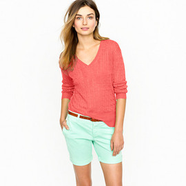 J.CREW - Linen V-neck cable-knit sweater (Light Rose)