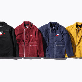 Supreme, NIKE - Cotton twill Double Zip Work Jacket with quilted lining and faux leather appliqué logos.